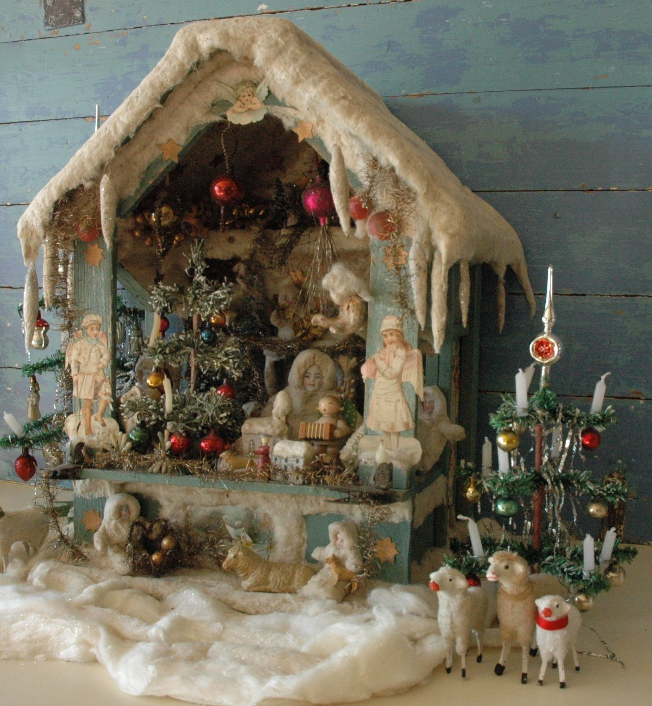 Old German Christmas House... Example of German Made Spun Cotton Decorated Christmas Ornaments.