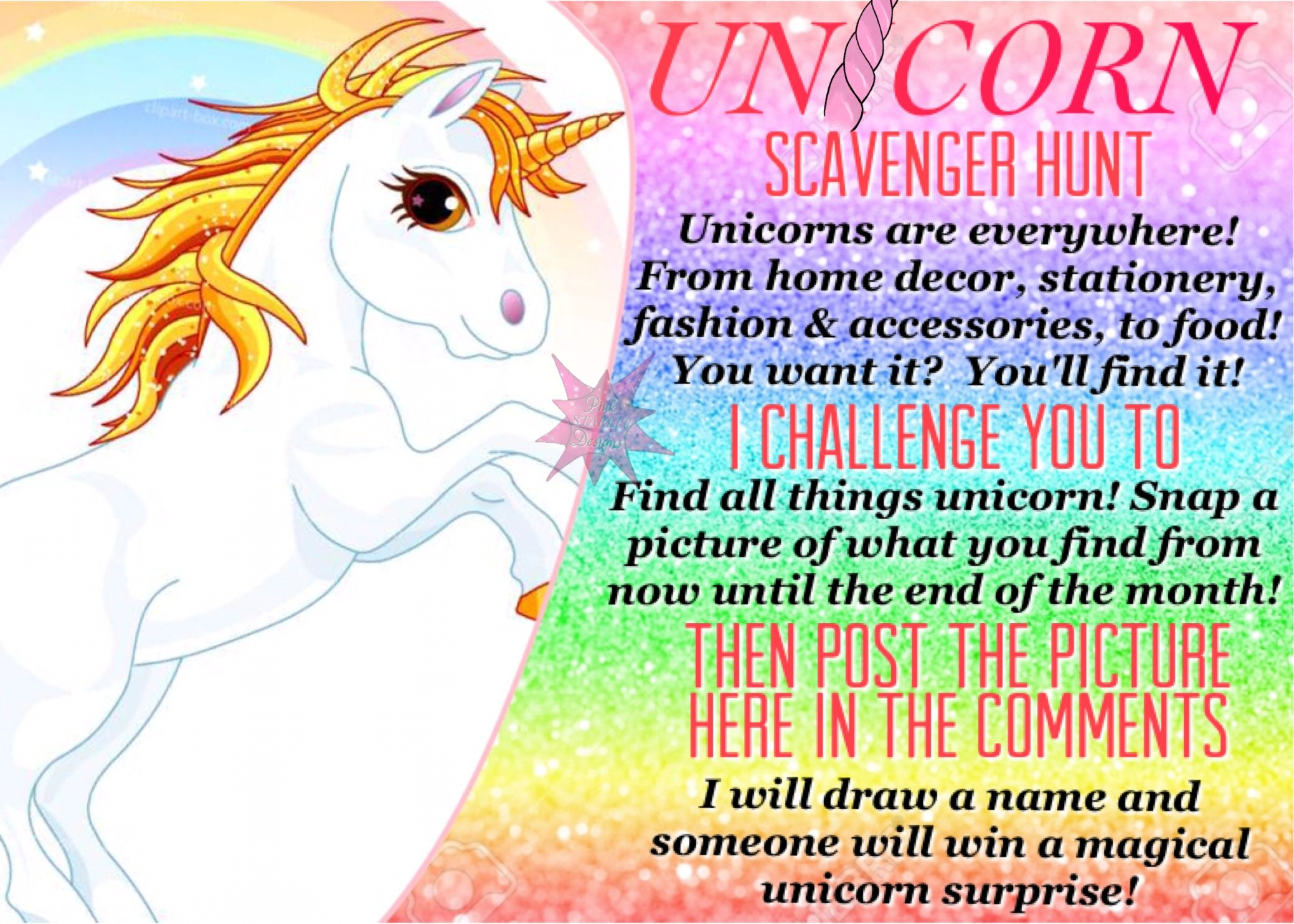 Unicorn scavenger hunt for Facebook VIP group  Fun month
