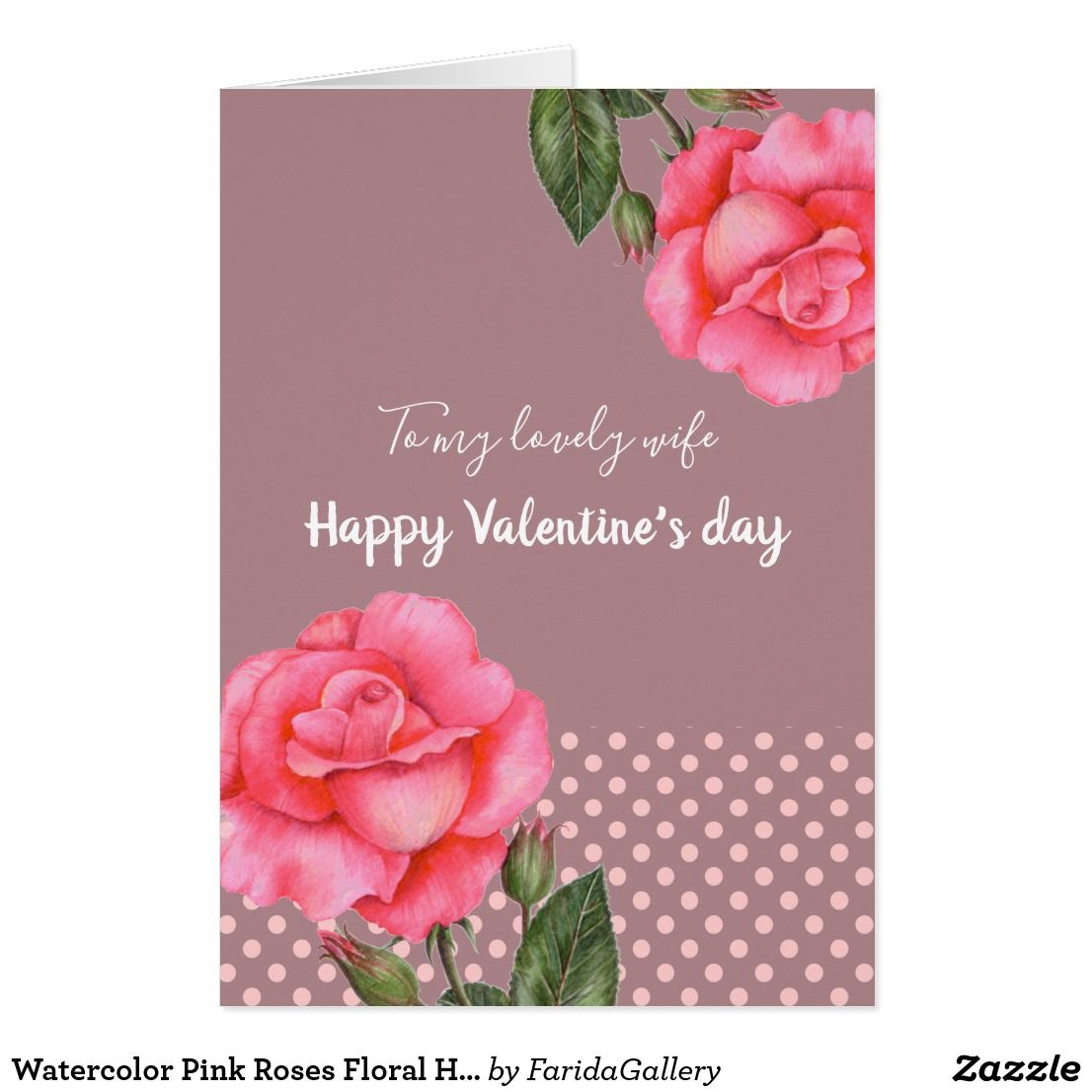 Watercolor Pink Roses Floral Happy Valentine S Day Greeting Cards