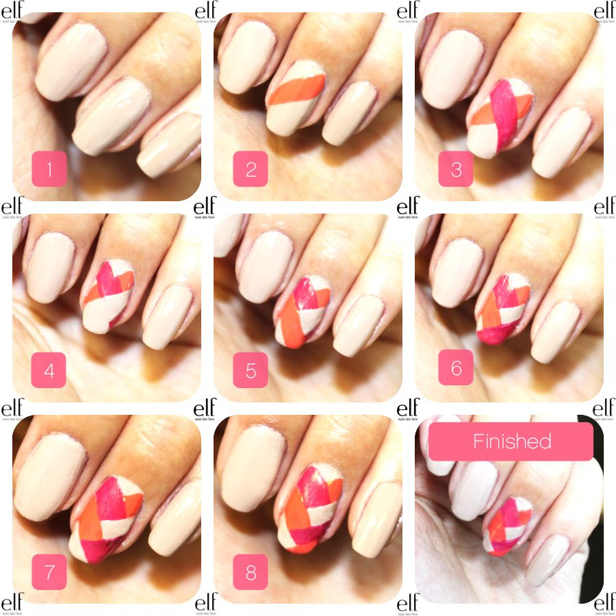 Easy and pretty pink orange chevron nail polish designs tutorial cool easy manicure at home step by step quick and easy manicure at home quick and easy manicure at home beach nail art ideasbeach nail colors gel nail prinsesfo Choice Image