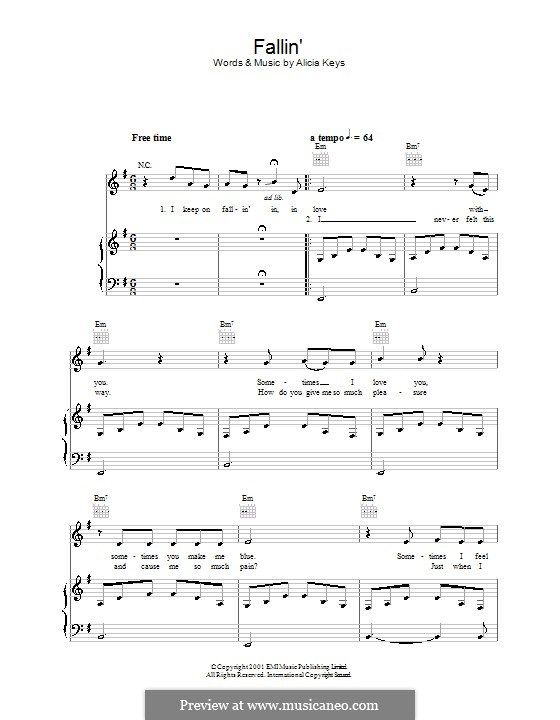 Fallin For Voice And Piano Or Guitar By Alicia Keys Music I
