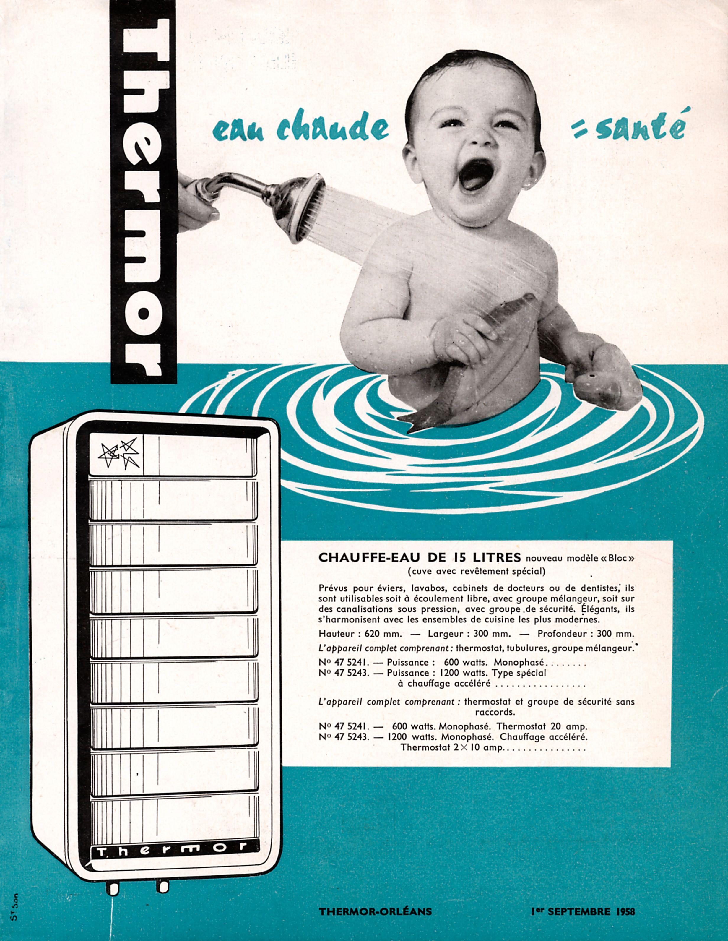 chauffe eau thermor mod le bloc 15l 1958 histoire de. Black Bedroom Furniture Sets. Home Design Ideas