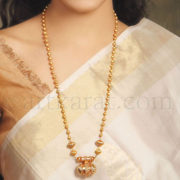 Gold Plated 24/'/' Long Indian Ball Necklace All Purpose Party Wear Chain Set a