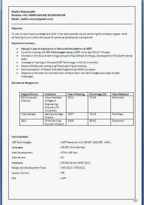 Curriculum Example Format Sample Template Example Ofexcellent