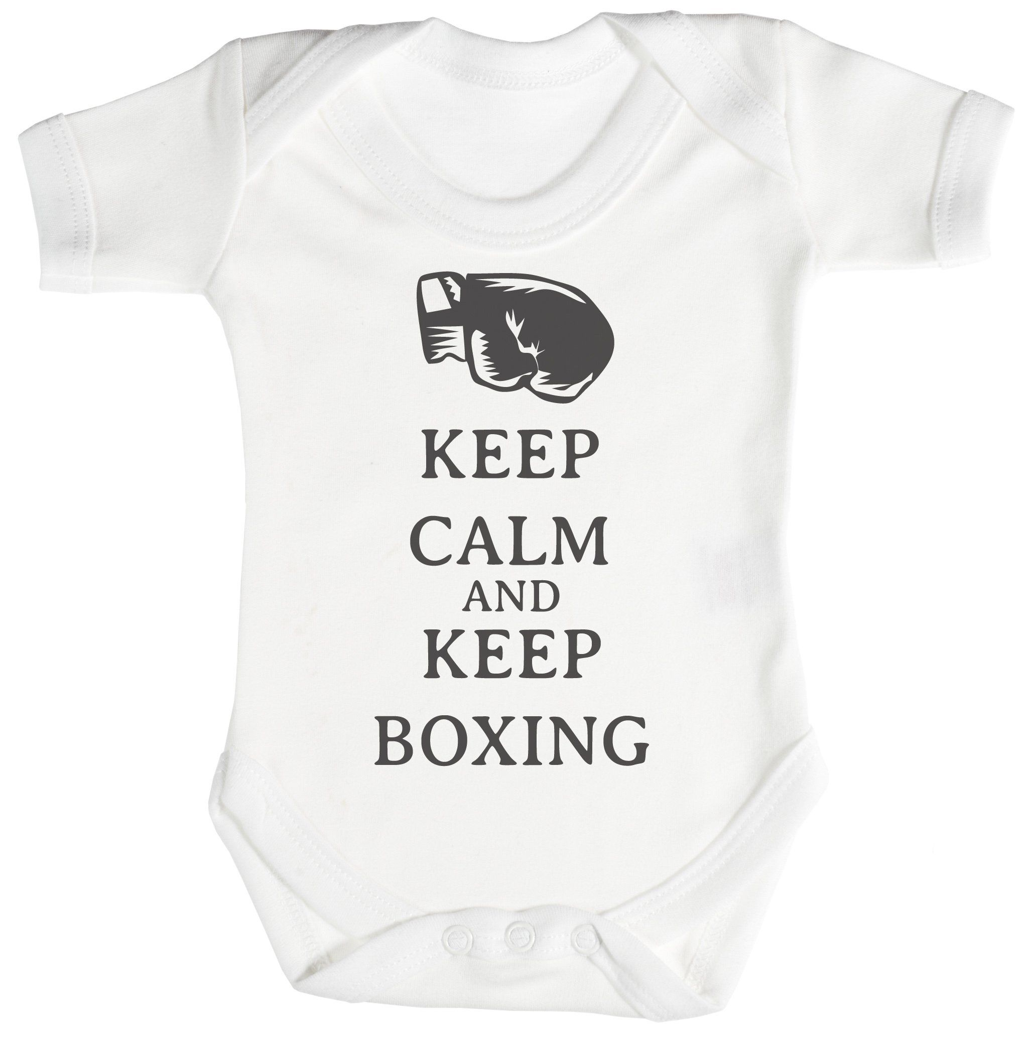 TRS - Calm Keep Boxing Baby Bodysuit / Babygrow 0-3 Mois Blanc