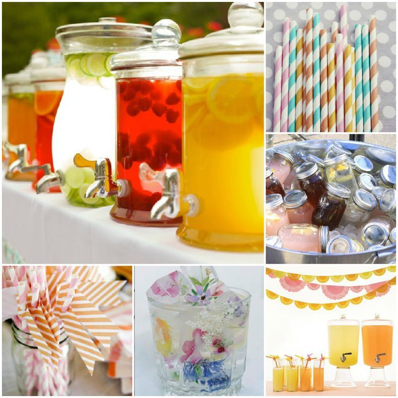 Drink Bar Collage. The mason jars filled with drinks are too cute!