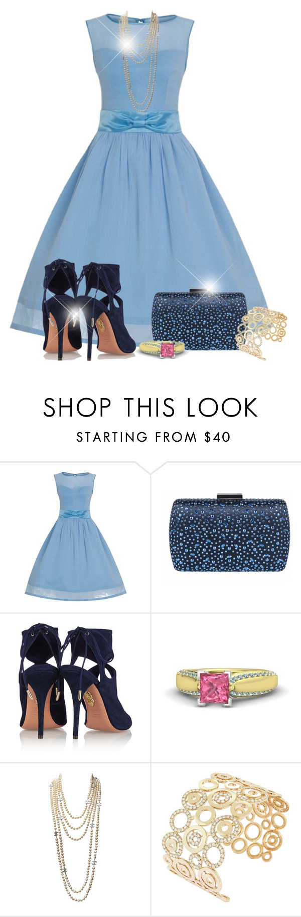 """Untitled #2294"" by jodilambdin ❤ liked on Polyvore featuring Aquazzura, Gemvara and Chanel"
