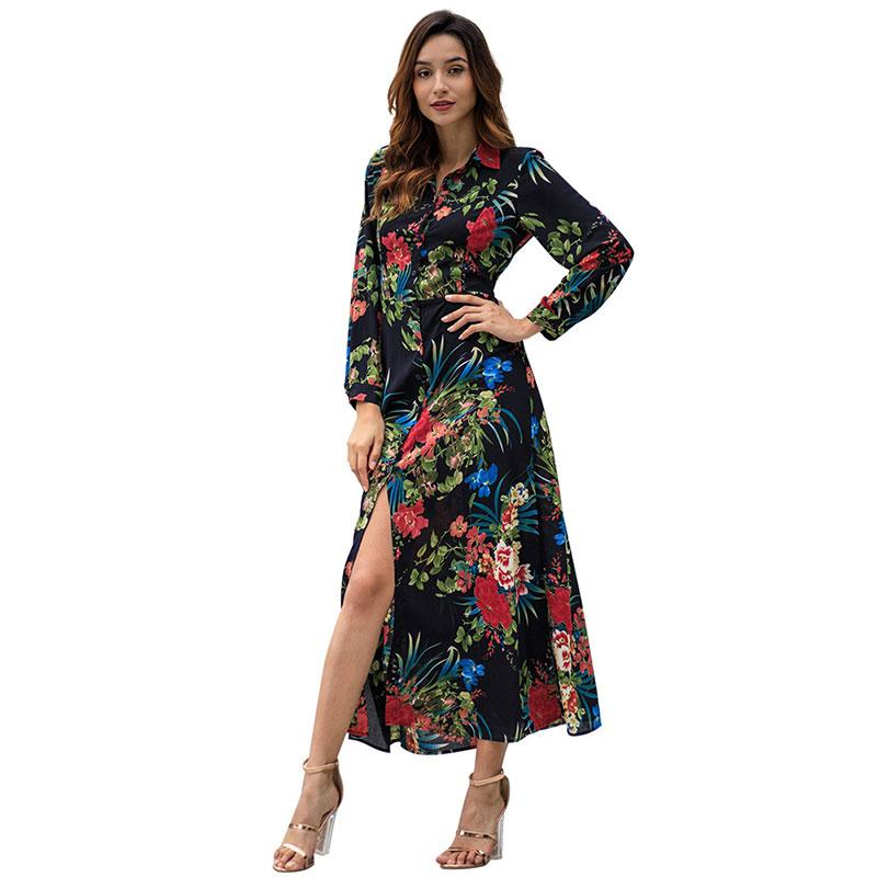 4c9338463 Black Long Sleeve Dress   Elegant Printed Dress   Maxi Bohemian Dress