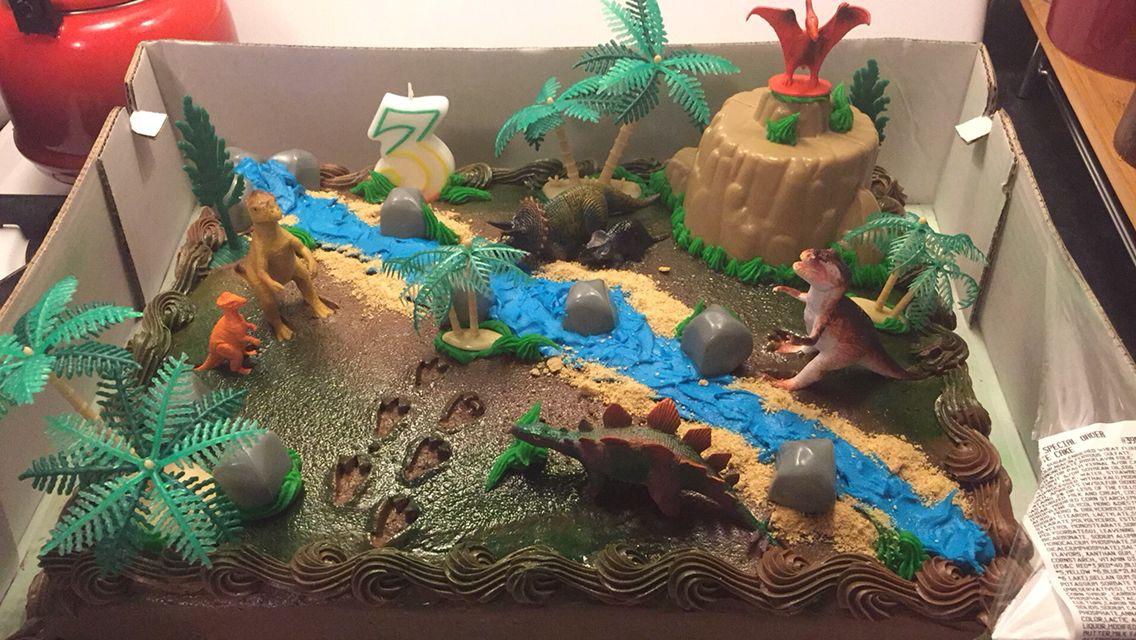 Diy dino cake big box store chocolate cake decorated with