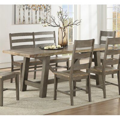 One Allium Way Cates Solid Wood Dining Table in 2020 ... on Safavieh Outdoor Living Horus Dining Set id=25253
