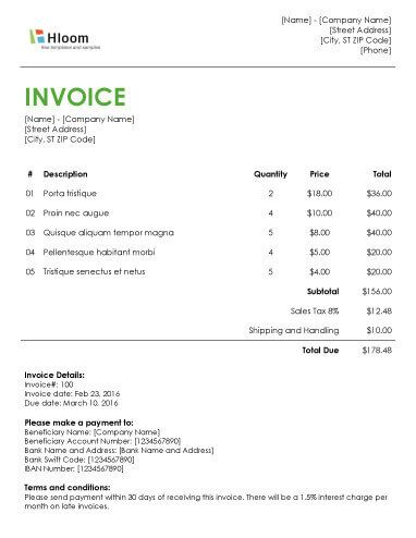 Blank Invoice Templates Microsoft Word Sample Invoice Template