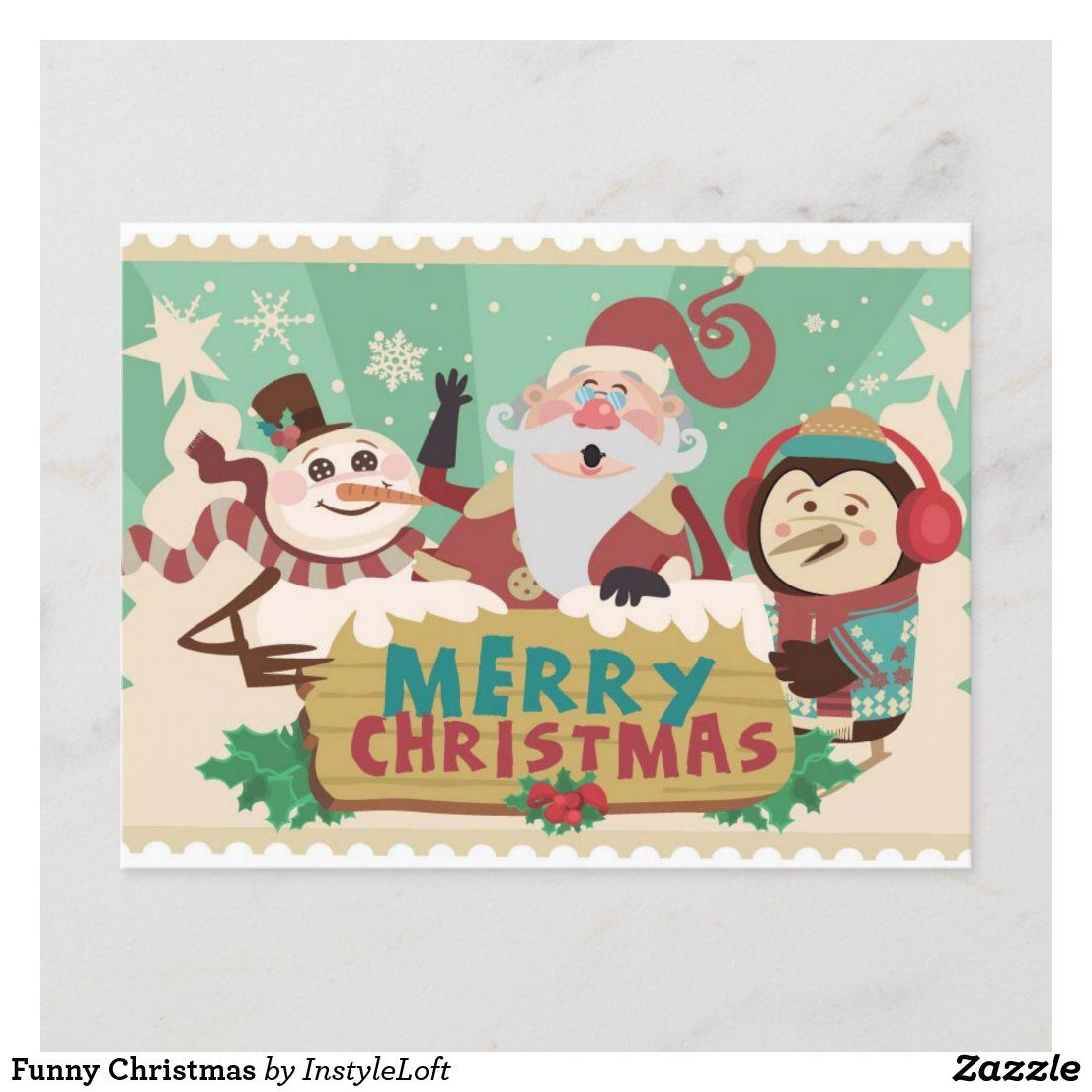 Funny Christmas Holiday Postcard Zazzle Com Christmas Cards Free Snowman Christmas Cards Christmas Card Templates Free