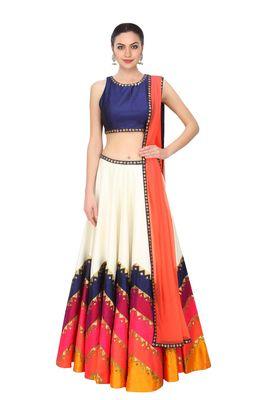 c02ee0e30bdac Multi color printed bangalore silk lahenga with blouse