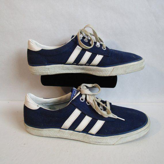 1973 Vintage Mens Adidas Sneakers Blue Canvas 1970s Casual Kiel White Stripe 70s Athletic Skater Shoes Size 10 Made in Taiwan