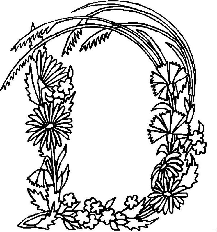 Alphabet Flower D Coloring Pages