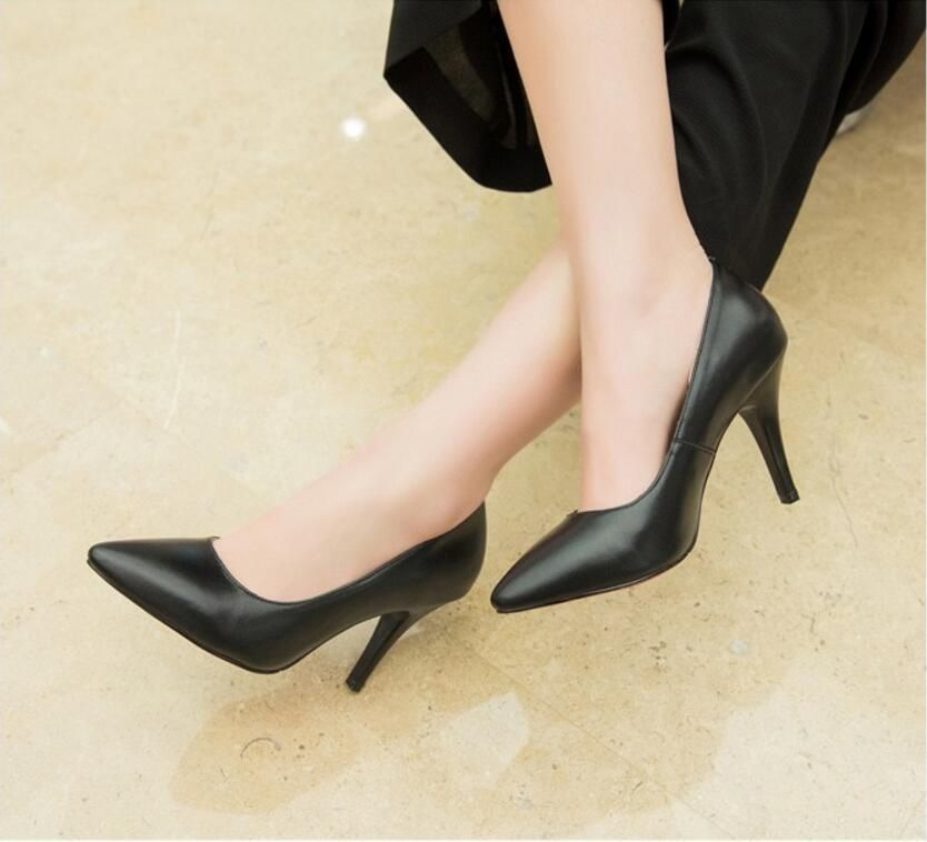 Women's Pure Color 9cm Pointed Toe High Heel Shoes