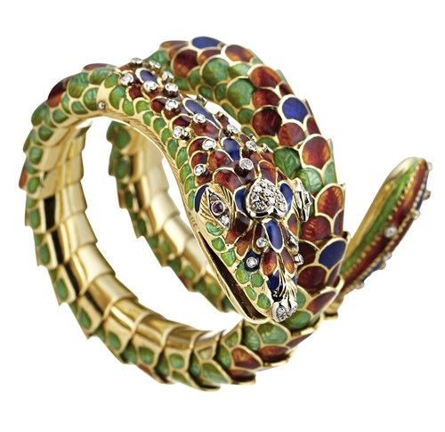 18k Gold Flexible Coil Snake Bracelet