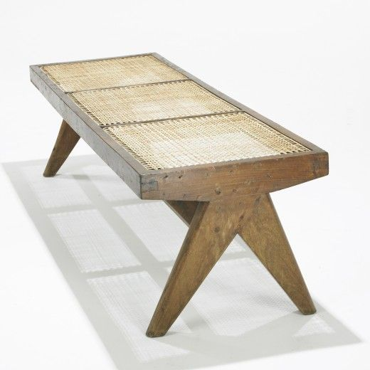 Pierre Jeanneret Teak And Cane Bench From Chandigarh