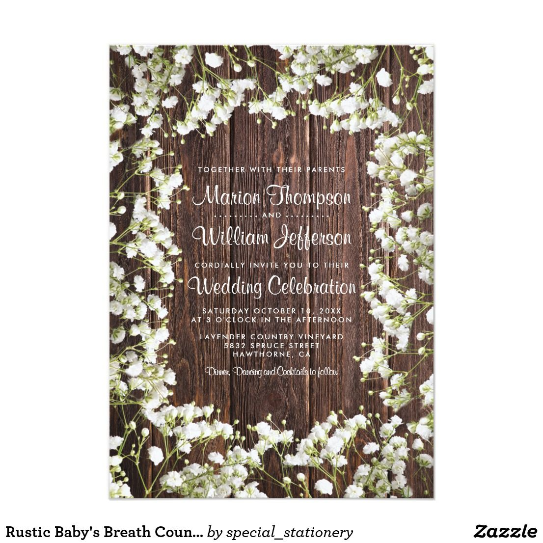 Rustic Babys Breath Floral Wedding Invitation Zazzle Com Floral Wedding Invitations Country Wedding Invitations Wedding Invitations Rustic Country
