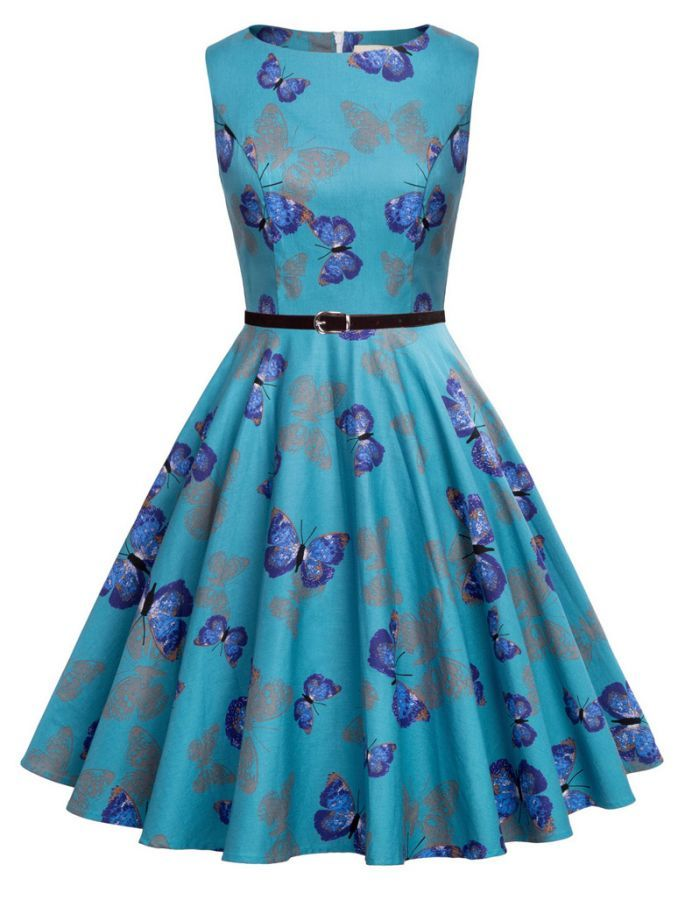 Elegant Butterfly Print 50s Vintage Retro Style Swing Dress ... 2d3d9d161d6