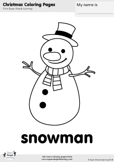 Free snowman coloring page from Super Simple Learning