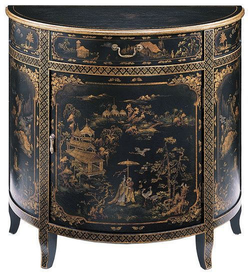 English George III Black Lacquered Chinoiserie Decorated Cabinet