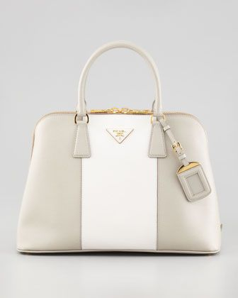 ce100b62170a Bicolor Saffiano Promenade Bag, Gray/White by Prada at Neiman Marcus.$1850