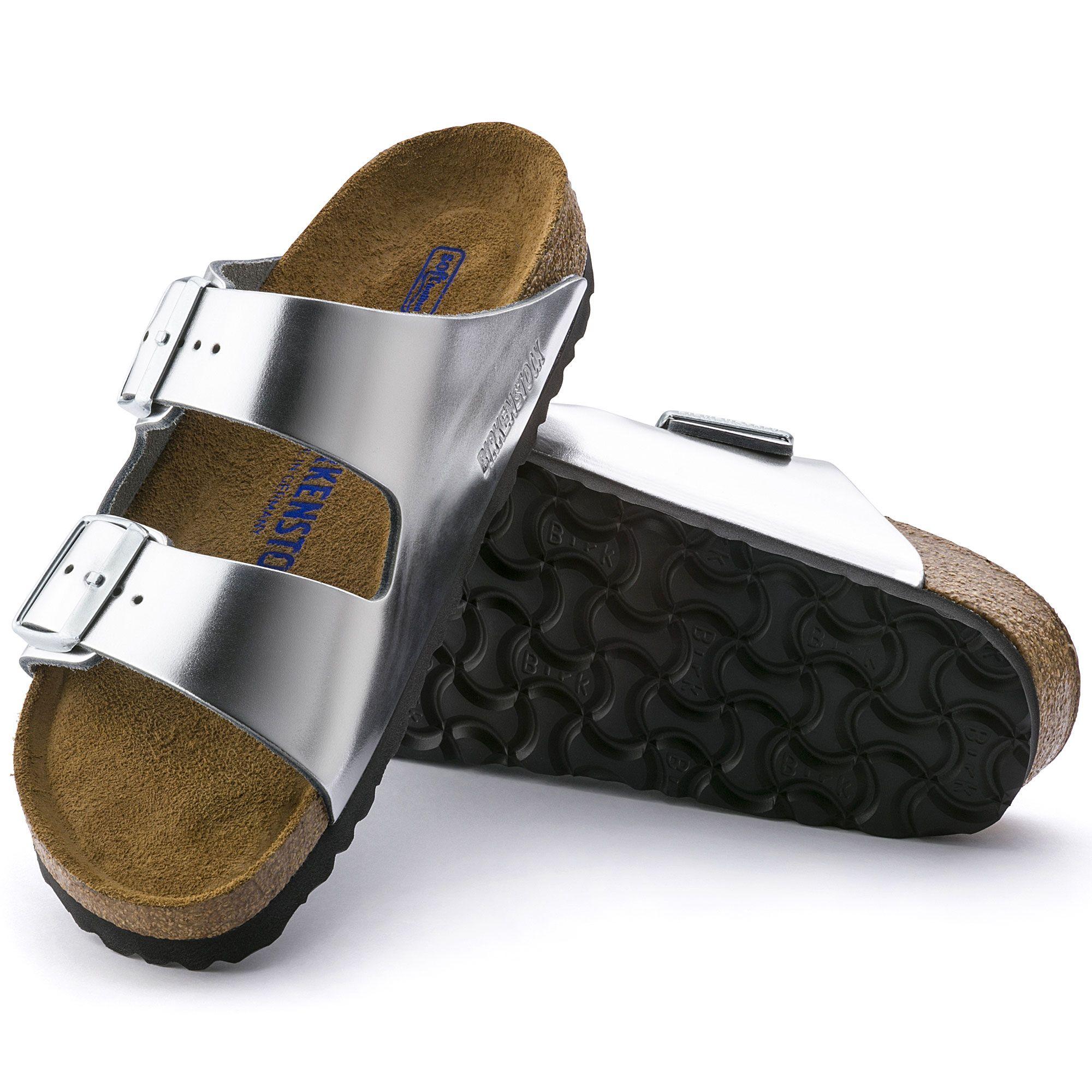 Arizona Soft Footbed Metallic Silver Leather. Birkenstock ...