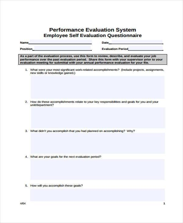 009 Employee SelfEvaluation Form Samples Employee