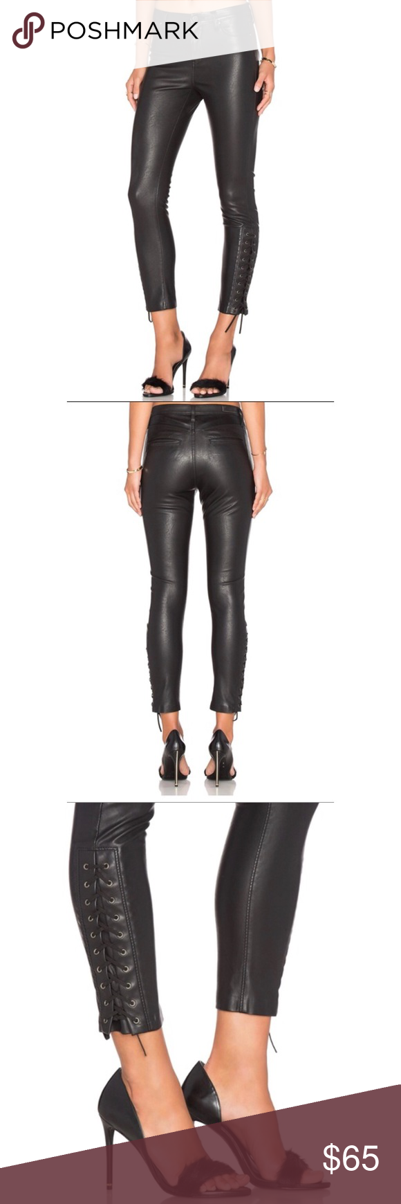 Blank Nyc Lace Up Vegan Leather Pants New Faux Leather Jeans Faux Leather Pants Blank Nyc