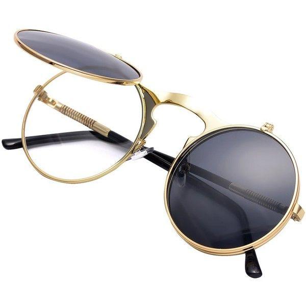 8dc0e50a93 COASION Vintage Round Flip Up Sunglasses for Men Women Juniors John... ❤  liked