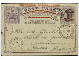 PANAMA. 1892 (April 18). 1891 1 1/2 on 2d violet postal stationery postcard with red UNIVERSAL POSTAL...