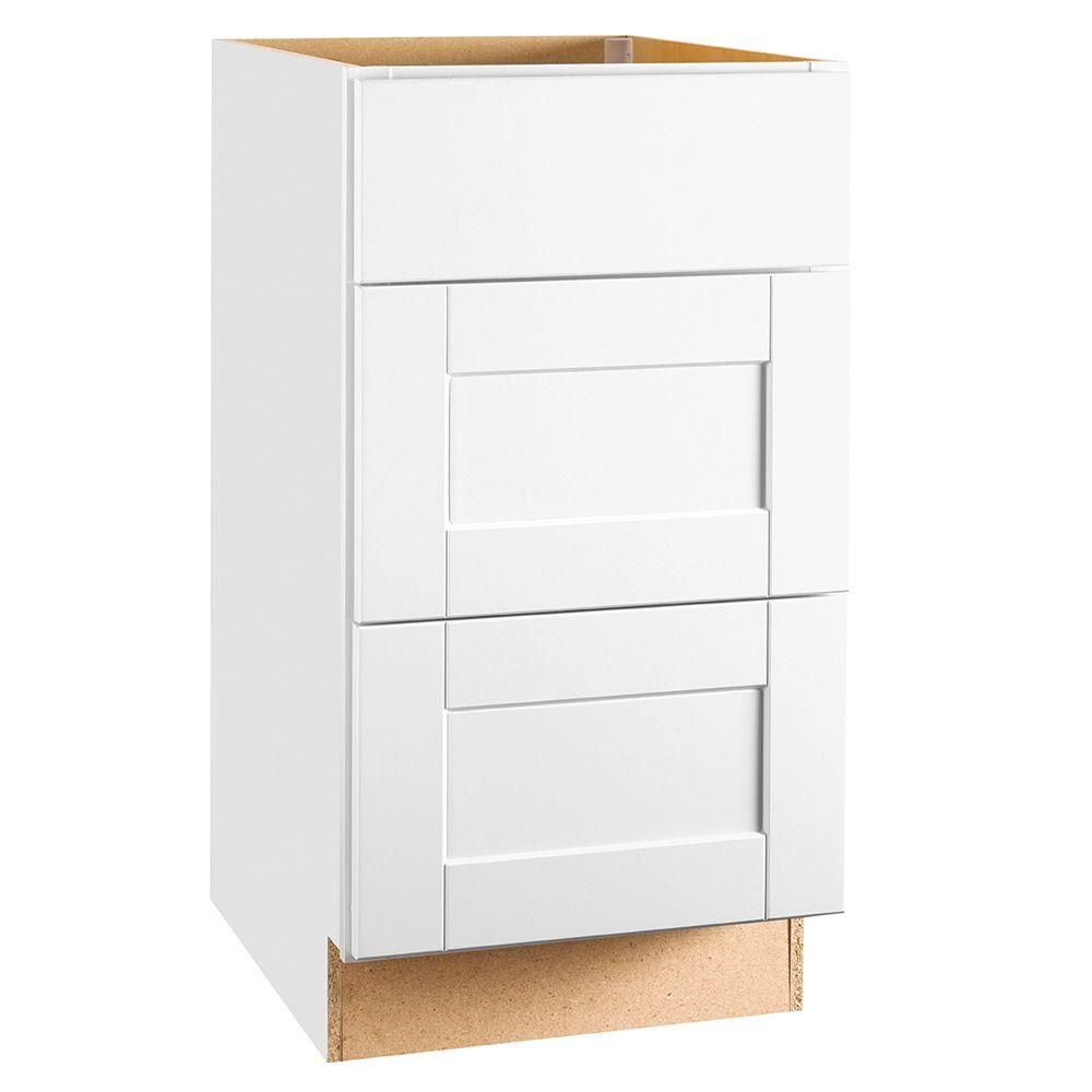 Hampton Bay Shaker Assembled 18x34 5x24 In Drawer Base Kitchen Cabinet With Ball Bearing Drawer Glides In Satin White Cabinets To Go Home Depot The Hamptons