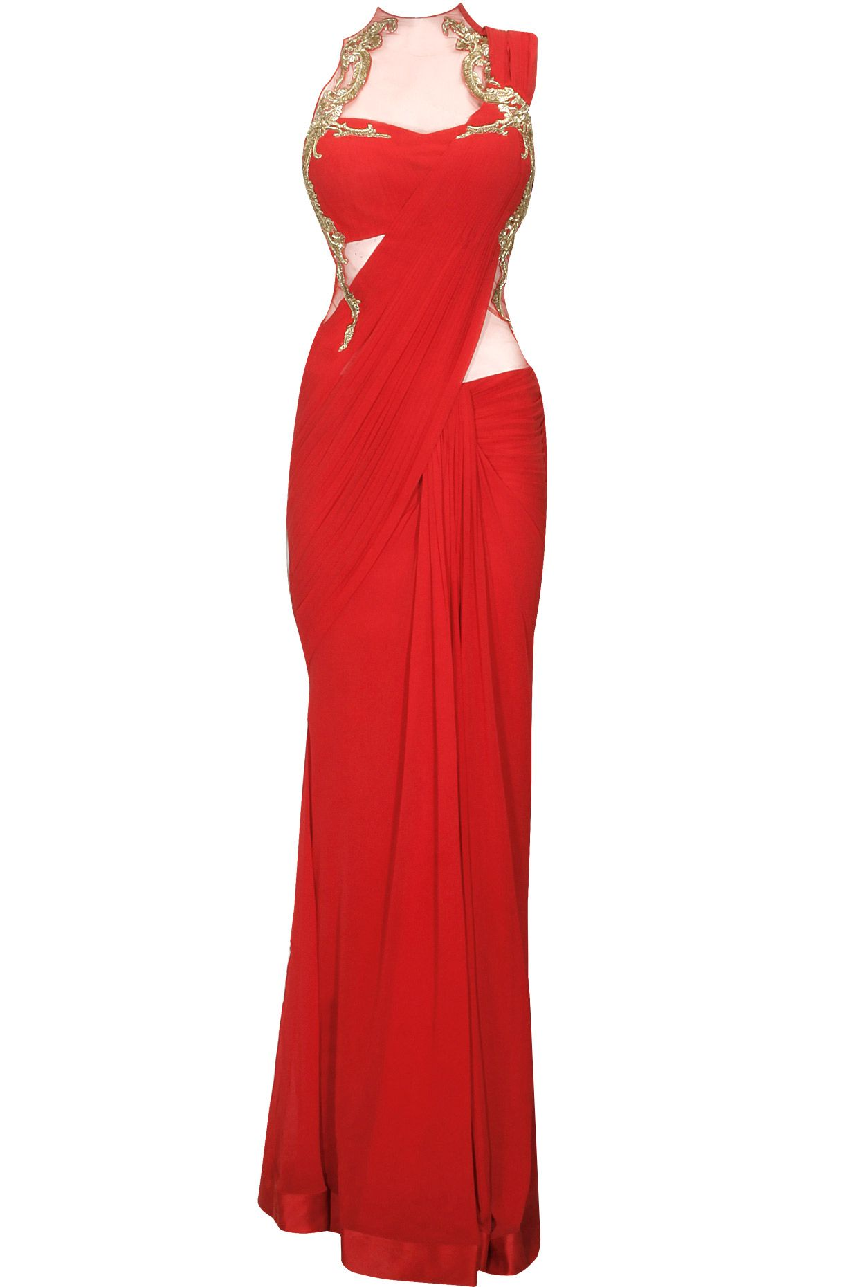 a5d948cdb061 Red metal and bead embroidery pre stitched sari gown available only at  Pernia s Pop-Up Shop.