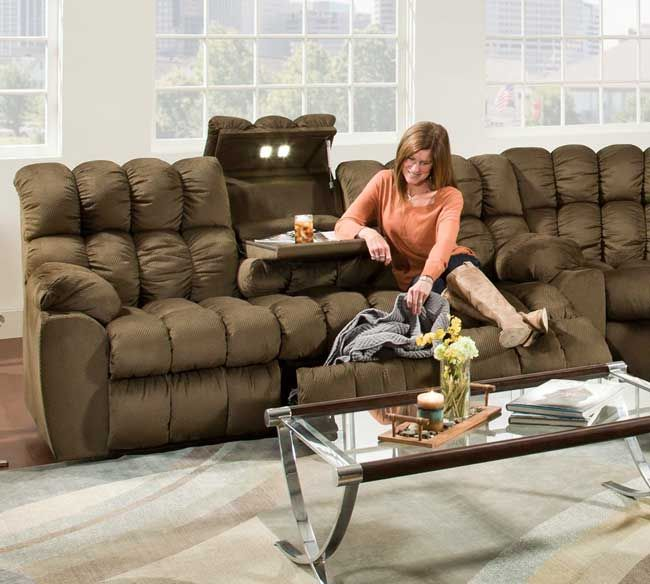 Brayden Reclining Sofa With Table, Lights