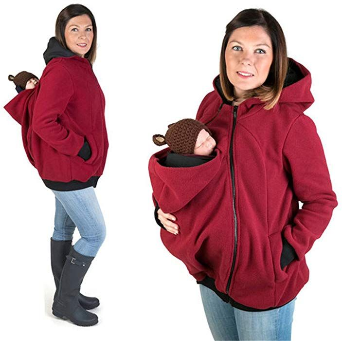 274a40c406335 yimeixiu Women Kangaroo Loose Hooded Sweater Coat pregnant Baby Sweatshirt  Maternity Polar Fleece Jacket (M, Red) at Amazon Women's Clothing store: