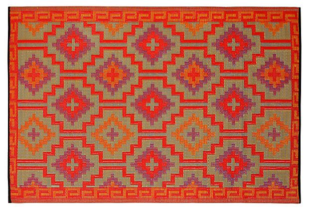 Lhasa Plastic Outdoor Rug Orange Multi Made From Recycled Plastic Straws And Finished By Hand Fab Habitat Outdoor Rugs Outdoor Plastic Rug