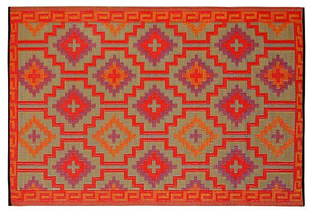 Fab Habitat Lhasa Plastic Outdoor Rug Orange Crafted From