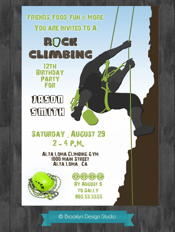 Rock Climbing Rock On Birthday Invitation by swankypress on Etsy – Rock Climbing Birthday Party Invitations