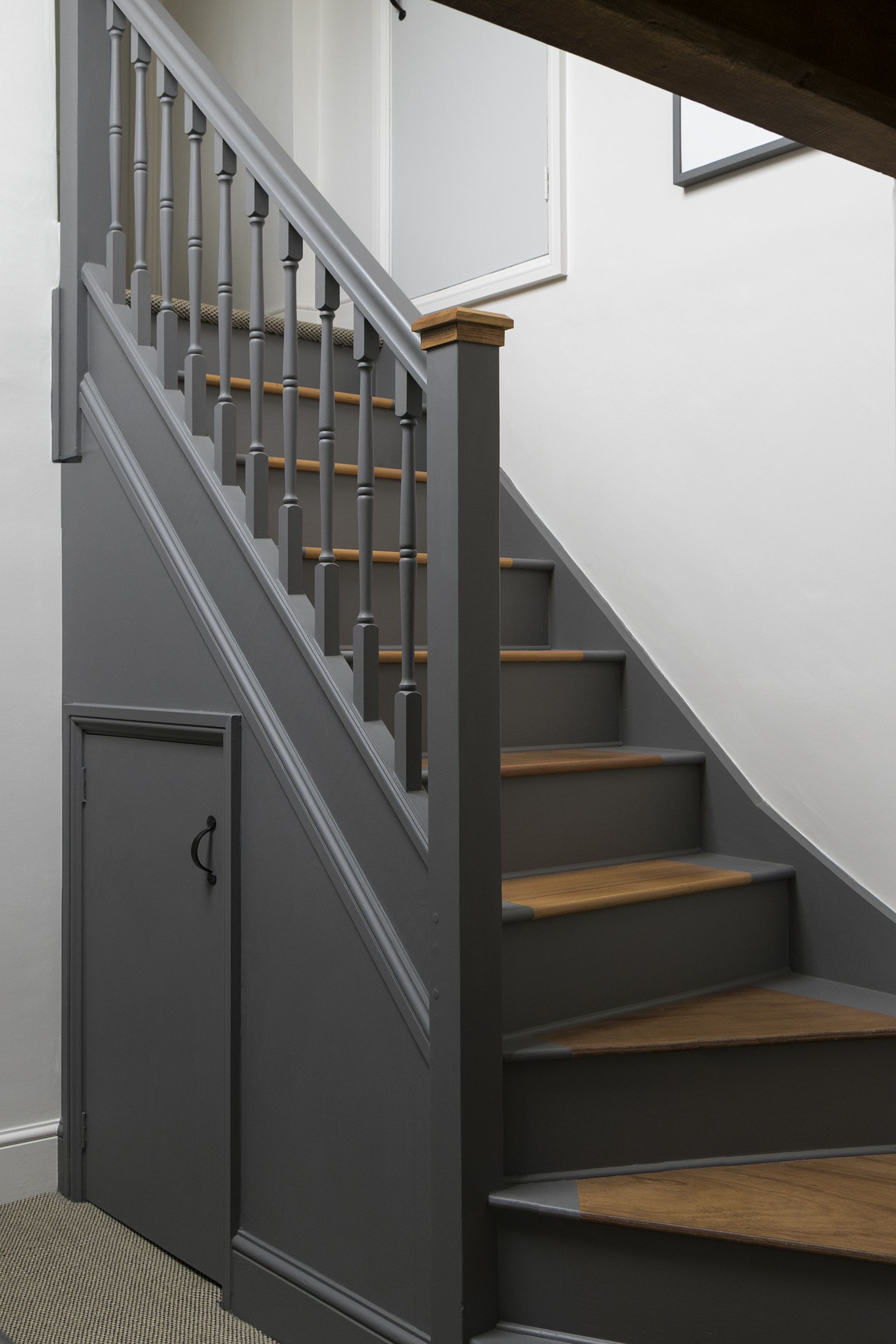 Best Second Floor Stairwell Walls And Staircase Painted Using Little Greene Linen Wash And Dark Lead 400 x 300