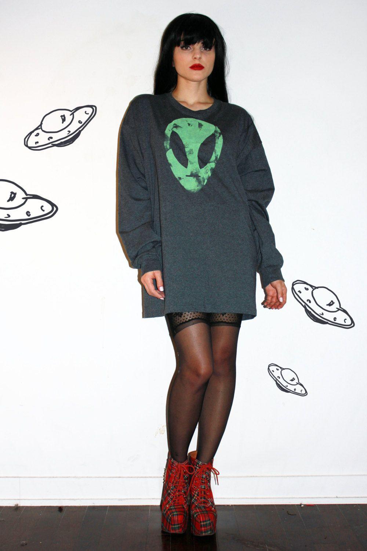 Alien Oversized Sweater Dress / Distressed Print ...