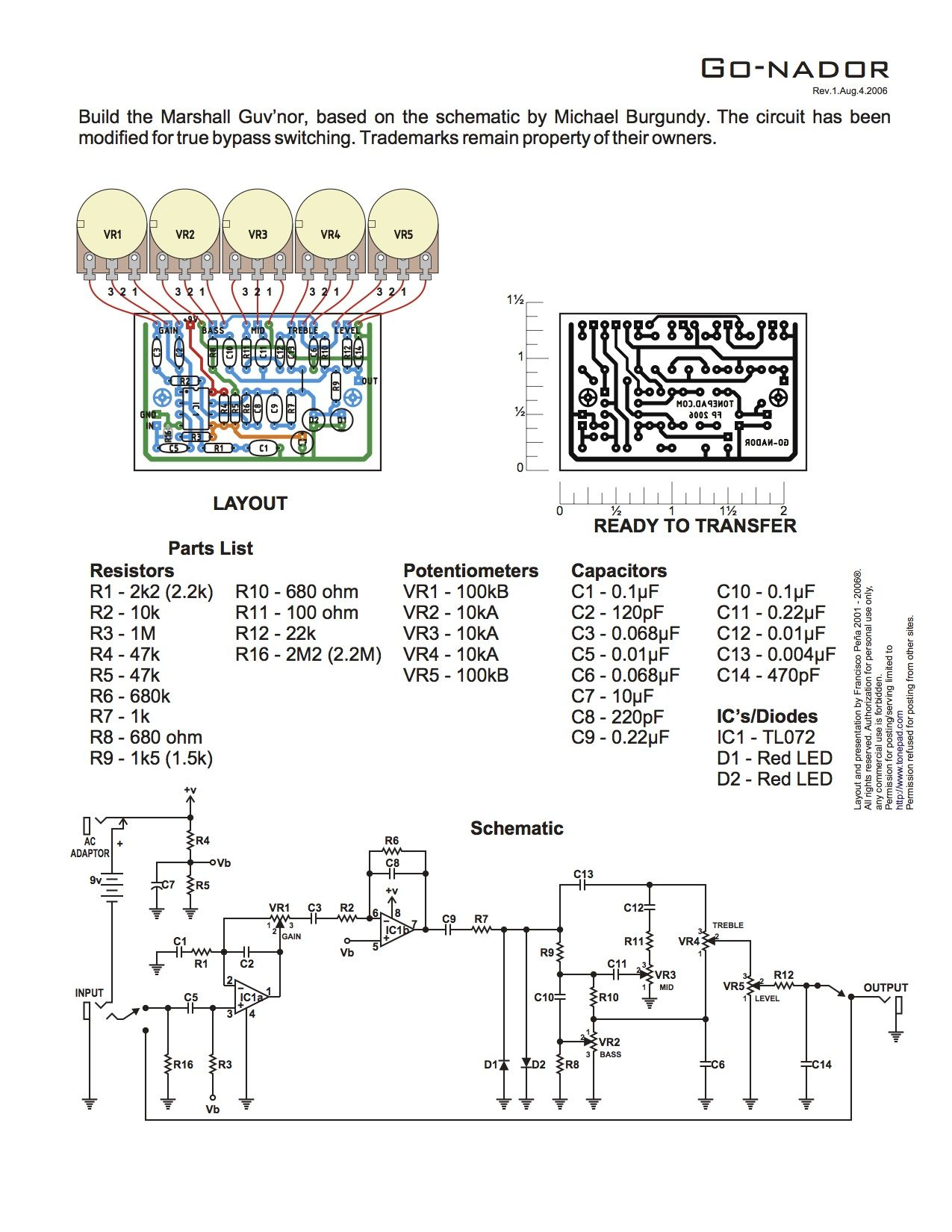 Marshall Guv U2019nor  Based On The Schematic By Michael