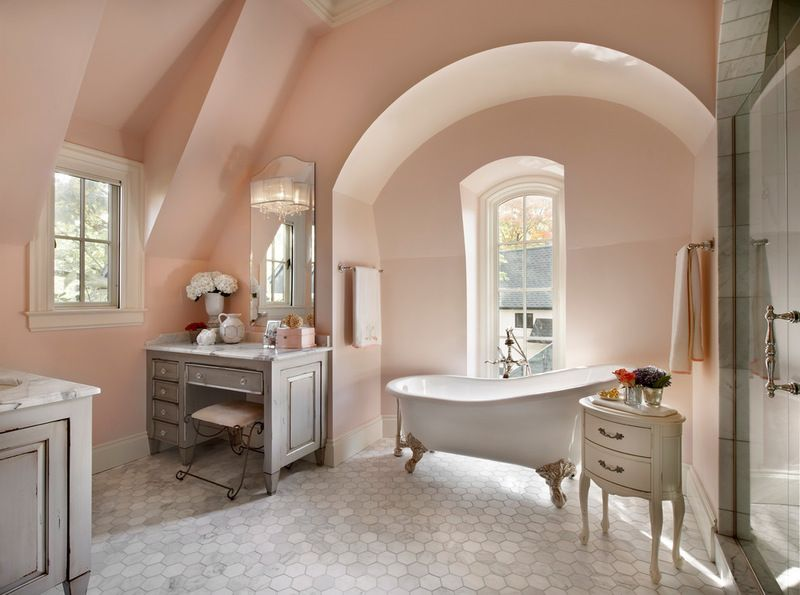Blush Traditional Bathroom by Charles Vincent George Architects, Inc