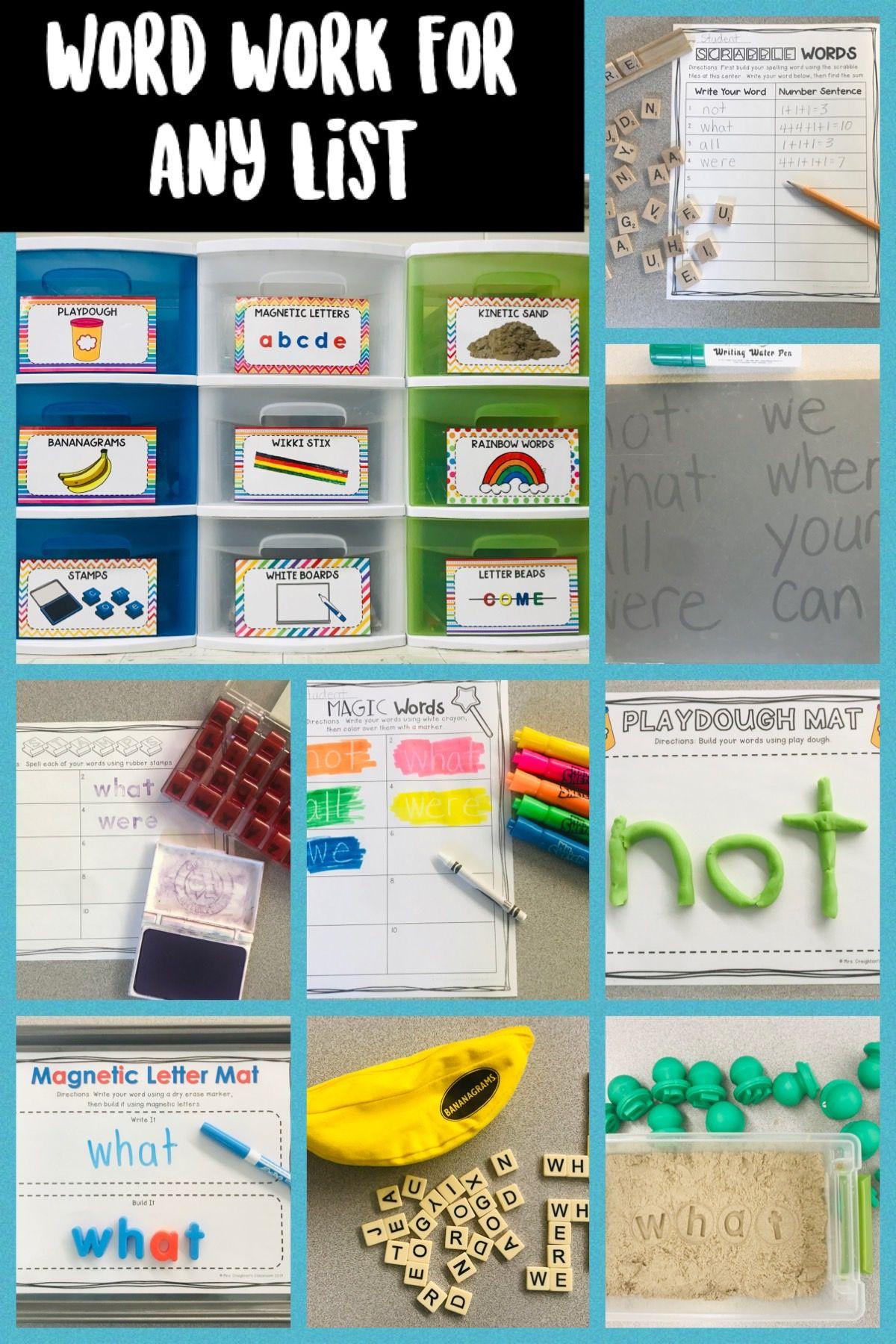 Word Work Activities Bin Labels And Word Work Menus