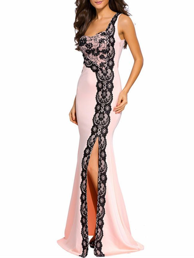 384b402943 Delightful One Shoulder Decorative Lace High Slit Evening Dress is hot sale  on ByChicStyle