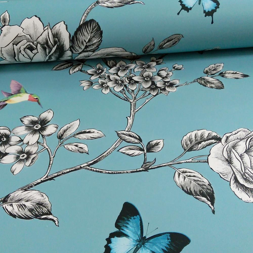 Grandeco ideco rose garden bird butterfly pattern floral