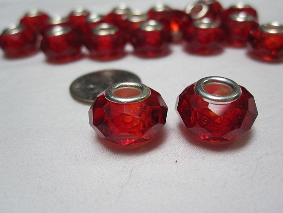 SP Crystal Red Rondelle Faceted Large Hole Beads by BeadYourOwn, $2.00
