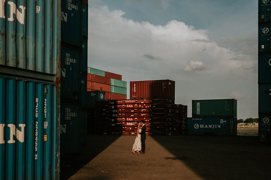 Gorgeously Gritty Day After Wedding Photo Shoot In A Shipping Container Yard Wedding Photoshoot Photo Pre Wedding Photoshoot
