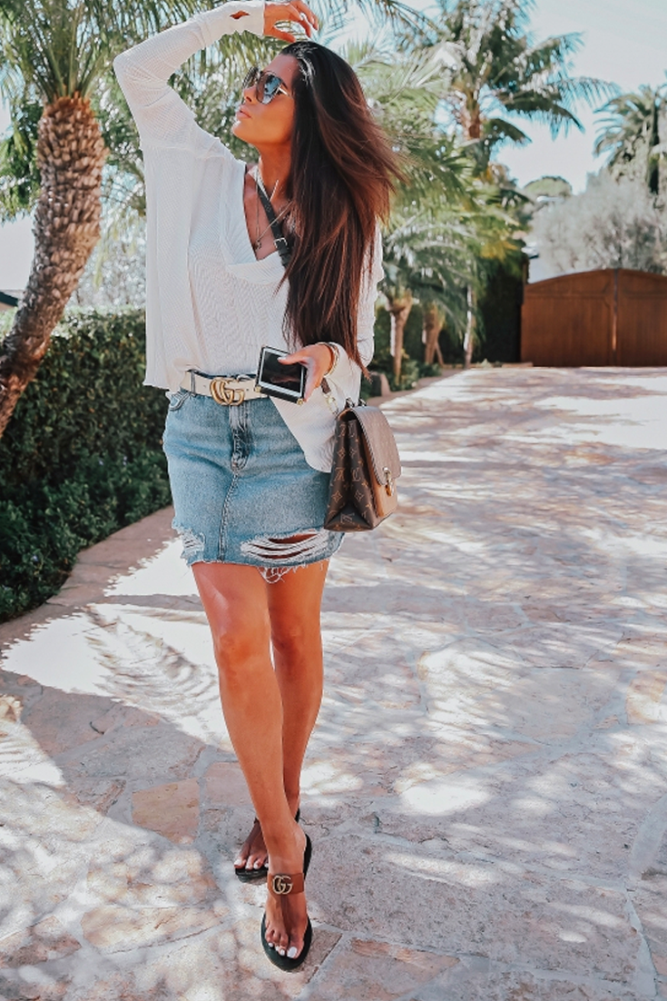 e57632eb4c0 Cutest Outfit for Summer. Topshop ripped Denim skirt