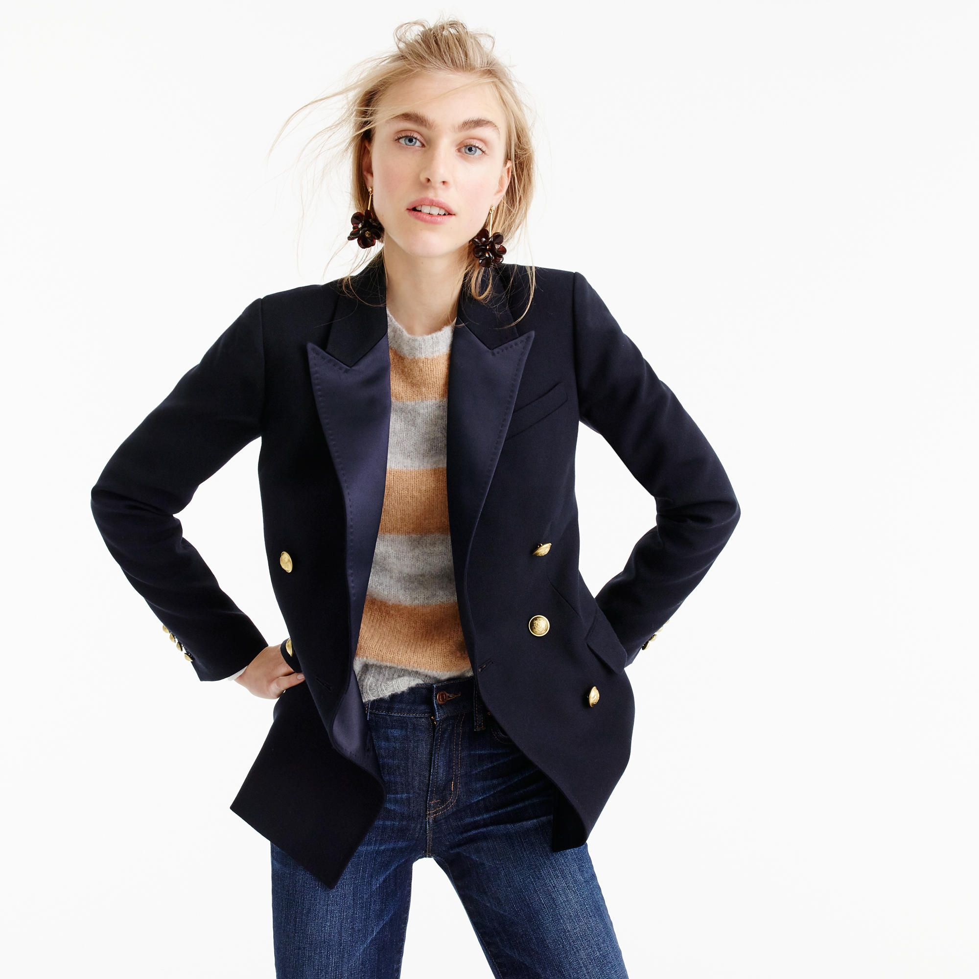 4a9dcc06f2a Double-Breasted Blazer In Italian Wool With Satin Lapel : Women's Blazers |  J.Crew
